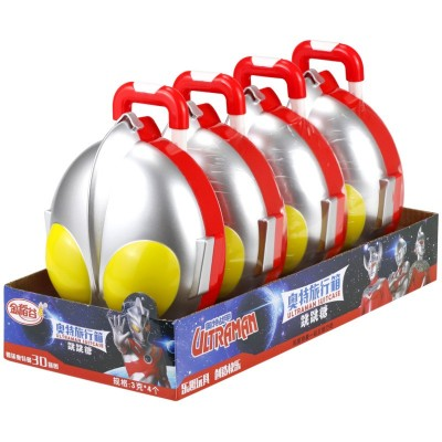 金稻谷奥特曼旅行箱创意咸蛋超人行李箱批发儿童零食内含跳跳糖
