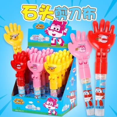 金稻谷10克超级飞侠石头剪刀布创意玩具糖果儿童休闲玩具糖批发